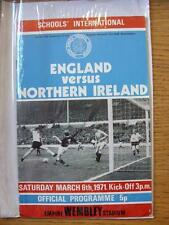 06/03/1971 England Schools v Northern Ireland Schools [At Wembley] (pin hole, so