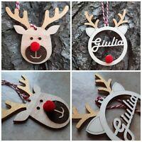 PALLA di NATALE personalizzata con nome legno pallina renna Rudolph da appender