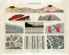 1887 EARTH'S CRUST LAND STRUCTURE GOLD GEOLOGY Antique Chromolithograph Print
