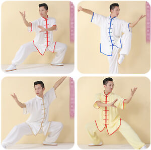 Cotton Silk TaiChi Trainning Uniforms aiji Kungfu Exercising Clothes with Border