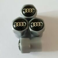 AUDI BLACK RINGS GREY Plastic Wheel Valve Dust caps all models 7 colours Q5 TT