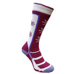 Women Girls Ski Socks Wool Long Warm Winter Snowboard Thermal Violet 2 sizes