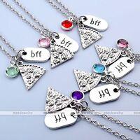 6pcs Pizza Crystal Pendant BFF Best Friend Friendship Chain Necklace Jewelry Set