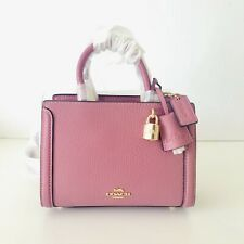Coach Micro Zoe Crossbody Purse Pink Pebbled Leather Mini Satchel Bag NWT $250
