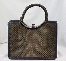 LOEWE Madrid Brown Matte Python Snakeskin Expandable Handbag & Coin Purse RARE!