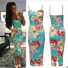 Womens Ladies Cami Strappy Green Floral Print Bodycon Midi Dress Size UK 8-26