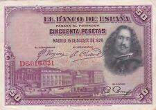 Z66 ESPAGNE Billet de 50 cincuenta Pesetas de 1928 pagar al portador