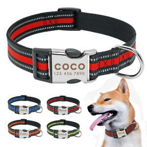 Nylon Reflective Personalised Dog Collar Customized Name ID Collar Tags Bulldog