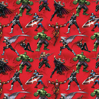 """Marvel Avengers Action Red 100% Cotton Fabric Remnant 33"""""""