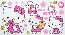 4 x Hello Kitty Self Adhesive Decorative Wall Stickers - 59cm x 31cm per sheet