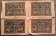 4 X German Banknotes. 100 Mark. Dated 1920. Vintage notes. Germany. 4 pcs.