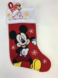 "Disney Mickey Mouse Christmas Stocking Red Embroidered Plush 17"" NEW"