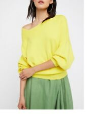 free people the knitted sweater in sunshine yellow (off shoulder)