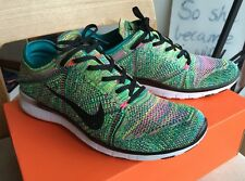 Nike Flyknit Free Tr mens 9.5 womens 11 rainbow black white multi color racer