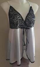 SEXY PLUS SIZE LINGERIE SILVER & BLACK LACE BODICE BABY DOLL NIGHTIE 1X-18-20