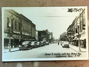 Vintage Real Photo Postcard Cleveland Tennessee Ocoee St.  Central Ave circa 40s