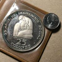 1970 Costa Rica 25 Colones Silver Proof Coin w/ Case and COA