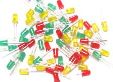 60pcs Mixed Pack Assorted 5mm Diffused Bright LED : Red / Amber / Green