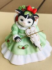 """Schmid Kitty Cucumber """"Ellie� Playing The Violin in her Christmas Holly Dress"""