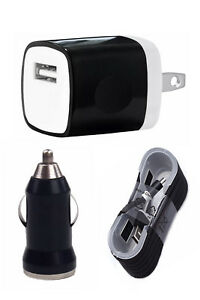 Wall Charging Charger Adapter 4FT USB Data Cable Car Charger for Phones Tablets