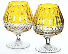 AJKA XENIA King Louis Yellow Gold Cut to Clear Crystal Brandy Snifters New