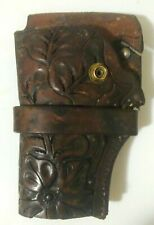 Hunter Leather Holster Thick Decorative Tooled Pattern Design Vintage Custom