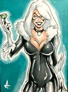 Spider-Man **BLACK CAT** MARVEL Sketch Card ACEO PSC Original Art 1/1