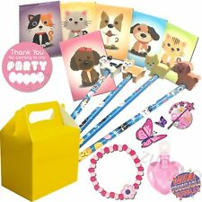 Pre Filled Pets Girls Party Bags Yellow Box Ready Made Birthday Gift Bag Favors