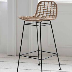 Weatherproof Tall Indoor Outdoor PE Rattan Bamboo Metal Breakfast Bar Seat Stool