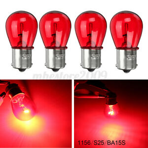 4pack 1156 RED 12V 21W BA15S Light Bulb Car Brake Stop Signal Turn Tail Lamp