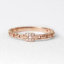 Diamond Ring, 14K Solid Gold Diamond Chain Shape Ring, Square Diamond Ring