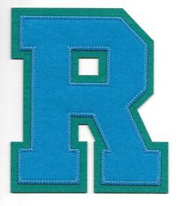 """5 """" Pollici Alto Blu Elettrico Su Verde Blocco Letterman's Lettera R Feltro"""