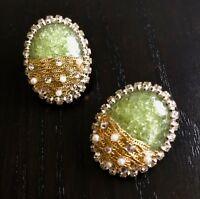 Green Large Statement Stud Earrings Womens Green Gemstone SW Samantha Willis
