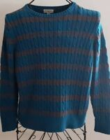 St. John's Bay ~ Women's Size XL Petite ~ Classic Sweater ~ Teal & Gray Striped