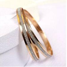 Women 3/Pcs Bracelet (Gold Sanded Texture)Plated Rhinestone Bangle Charms Bangle