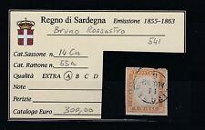 FRANCOBOLLI 1862 SARDEGNA 10 C. LIVORNO 11/8 BRUNO ROSSASTRO A/6404