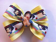 "Girls Hair Bow 4"" Wide Snow White Yellow Grosgrain Ribbon French Barrette"