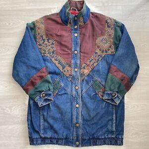 Two Twenty Denim Jacket Size Large Unisex 80s Boho Patchwork Hippy Tapestry Vtg