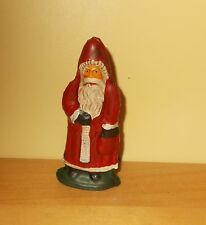 Fine OLD European Style Hand Painted Lead Figure of Santa Claus w Bag o Gold