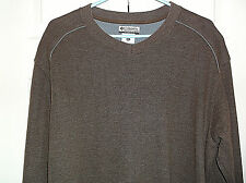 Columbia Mens Brown Cotton Poly Long Sleeve Pullover V Neck Shirt Size XL Nice!