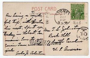 Australia 1927 Sydney NSW - George V Head Issue - Postage Due Postcard to USA