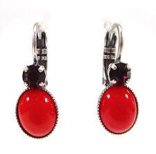 SoHo® Ohrringe Ohrhänger geschliffene Kristalle garnet handgemacht Glas Cabochon