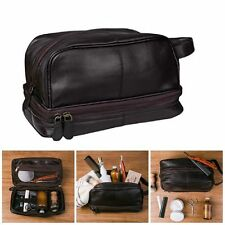 NEW Genuine Leather Toiletry Bag Shaving Kit  Travel Case for Men Dark Brown