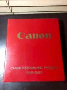 Rare CANON Photographic SLR Camera Sales Guide 1969-75 Prices Specs Binder Book