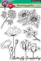 Blooming Garden FLOWERS Clear Unmounted Rubber Stamps PENNY BLACK 30-155 New