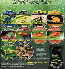FROGS, Colorful Amphibians, Cook Islands,10 piece set with box & COA