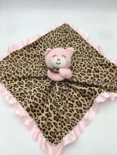 Carters Pink Kitty Cat Black Tan Leopard Baby Rattle Security Blanket Ruffle