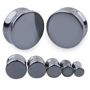BLACK CHROME Ear Plugs Piercing Saddle Tunnel Stretchers Jewellery Flared PL160