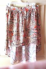 Lily White Womens Asymmetrical Skirt Large Floral Pattern