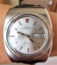 Superb 1970s Gents SS Omega MegaQuartz Geneve Day Date Watch cal 1310 Serviced